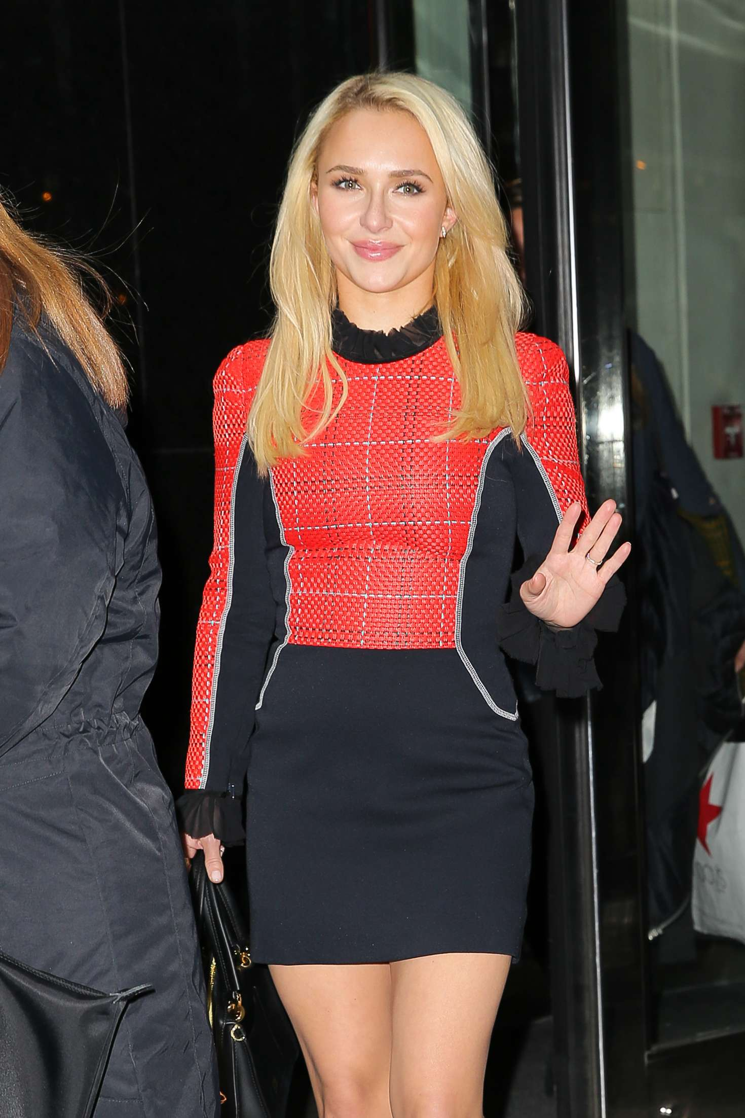 Hayden Panettiere in a Mini Red And Black Dress in New York City