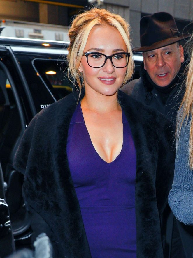 Hayden Panettiere in a Tight Purple Dress Out in New York