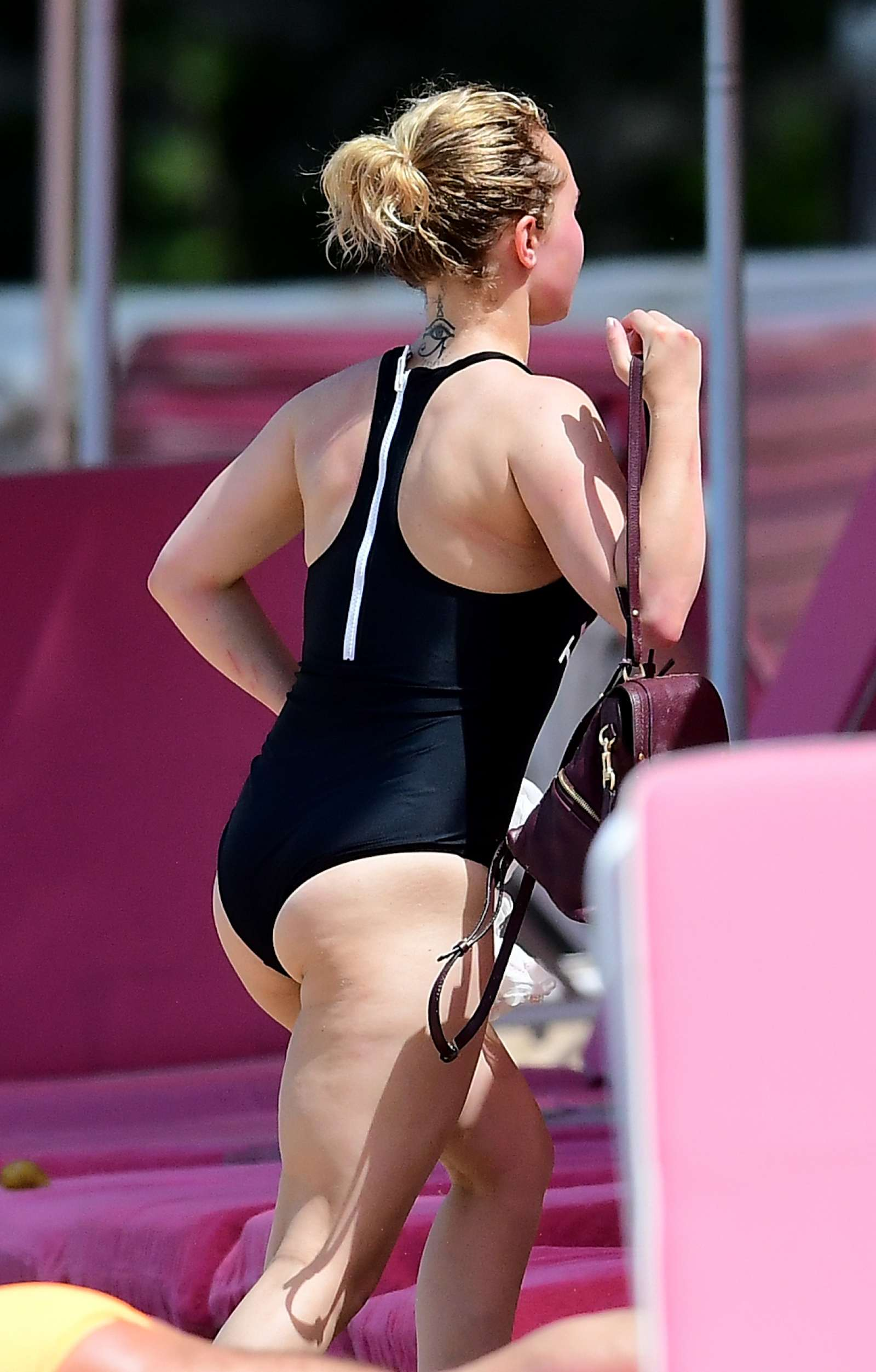 Hayden Panettiere in Black Swimsuit on the beach in Barbados