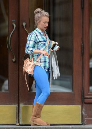 Hayden Panettiere in Blue Tights out in Los Angeles