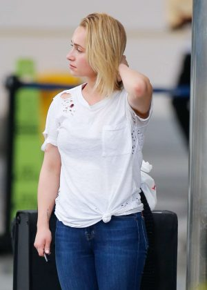 Hayden Panettiere in Jeans - Arriving at the airport in Barbados