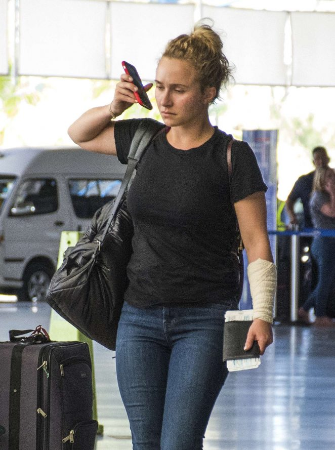 Hayden Panettiere in Jeans at Airport in Barbados