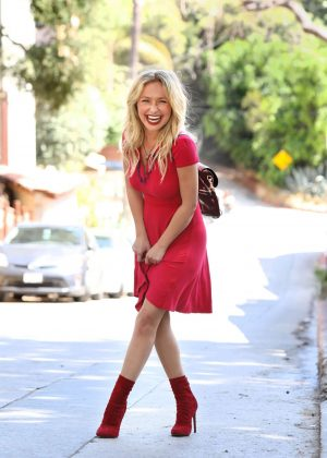 Hayden Panettiere in Red Dress - Out in Los Angeles
