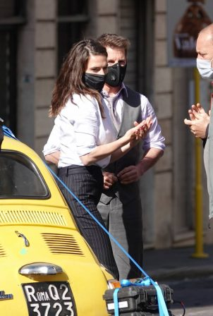 Hayley Atwell - filming 'Mission Impossible 7' in Rome