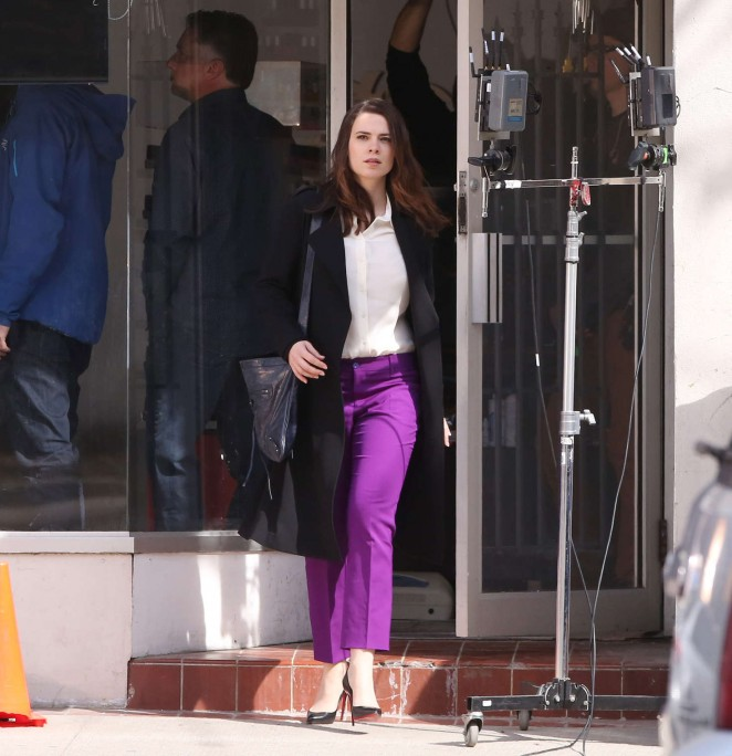 Hayley Atwell in Purple Pants on movie set in Toronto