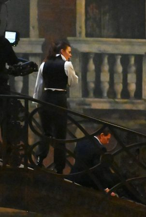 Hayley Atwell - On the set of 'Mission Impossible 7' on the bridge Minich in Venice