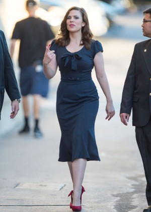 Hayley Atwell in Blue Dress at Jimmy Kimmel Live in LA