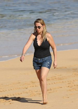 Haylie Duff in Jeans Shorts on the beach in Hawaii