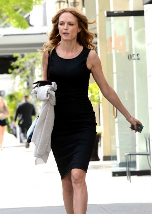 Heather Graham in Black Dress Leaves Sushi Roku in Los Angeles