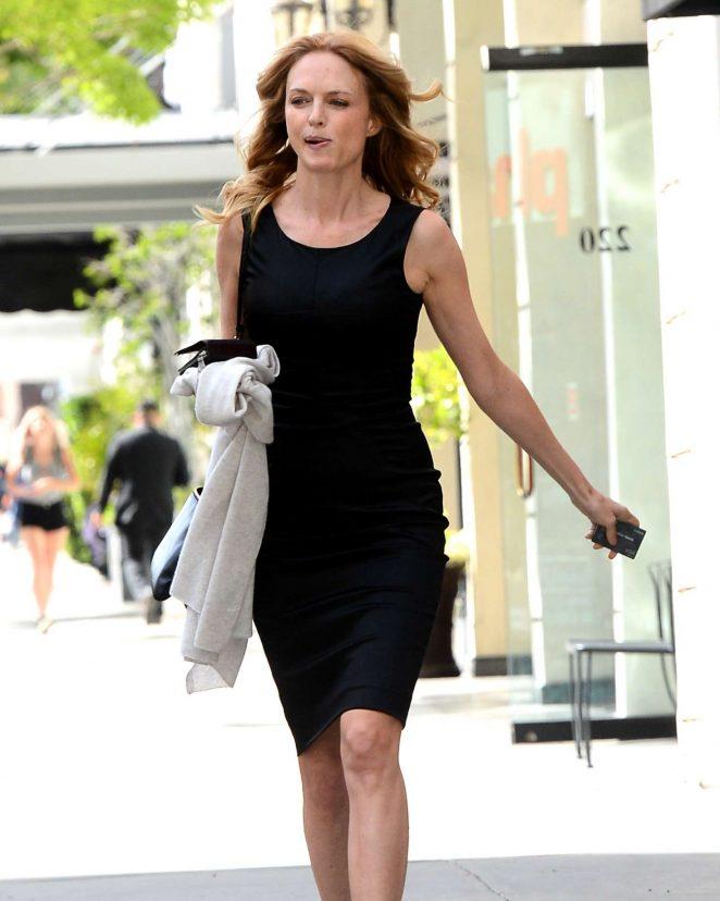 Heather Graham in Black Dress Leaves Sushi Roku in Los Angeles