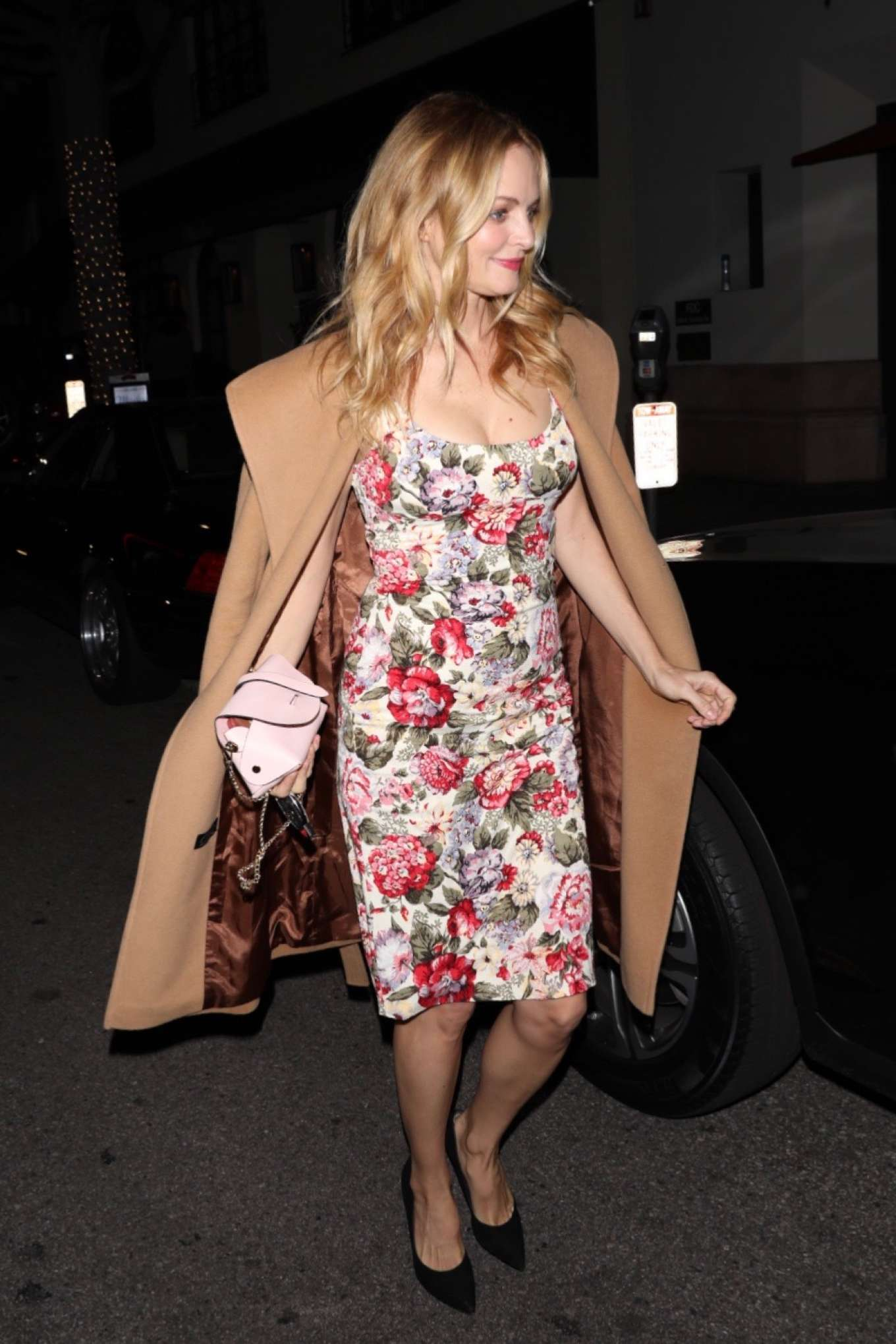 Heather Graham - In floral dress outside Madeo in Beverly Hills