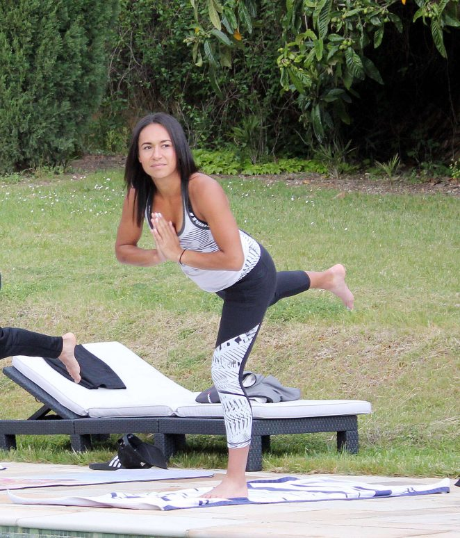 Heather Watson Doing Yoga in France