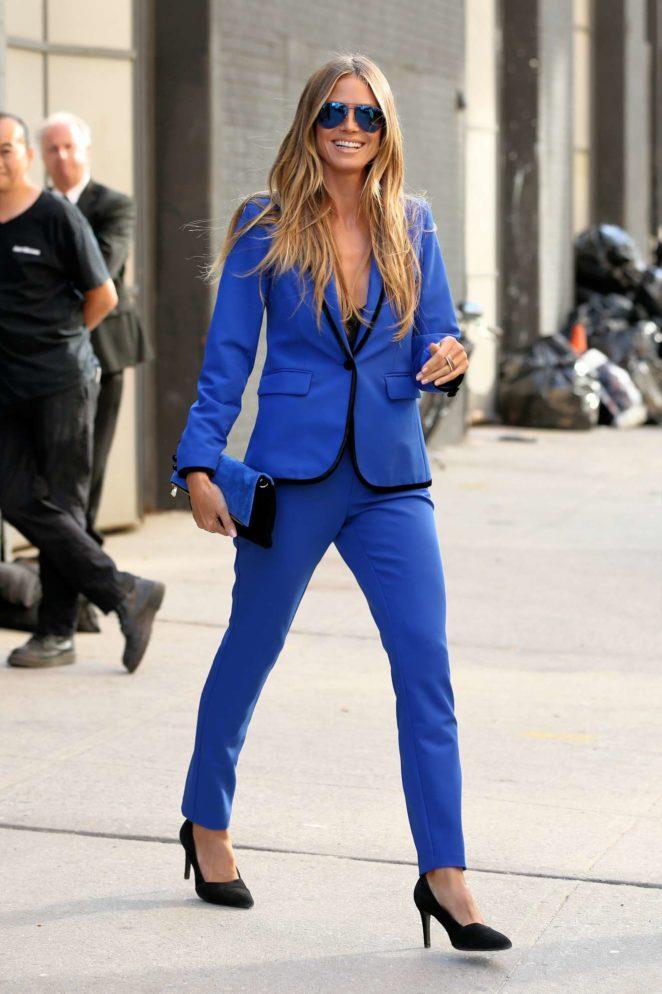 Heidi Klum - All in blue leaves Art Beam in New York