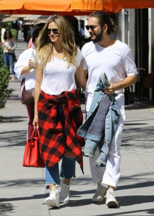 Heidi Klum &and boyfriend Tom Kaulitz at Il Pastaio in Beverly Hills