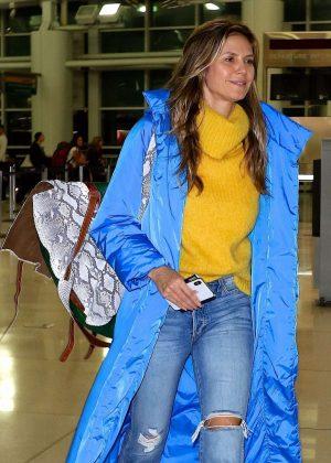Heidi Klum - Arrives at JFK airport in NYC