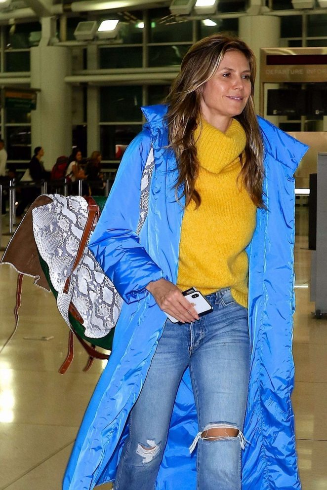 Heidi Klum - Arrives at JFK airport in NYC