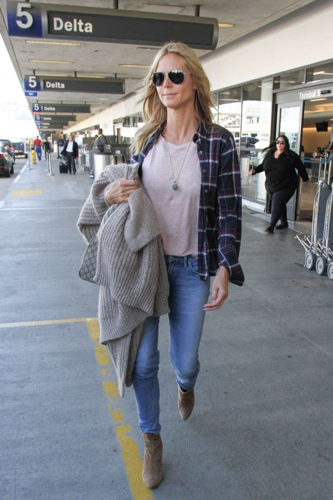 Heidi Klum in Jeans at Los Angeles International Airport