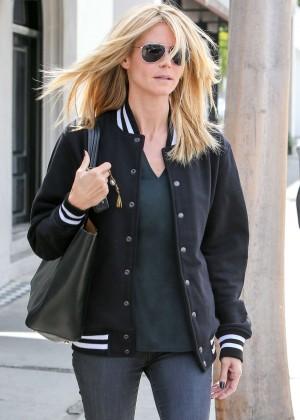 Heidi Klum in Tights at a Hair salon in LA