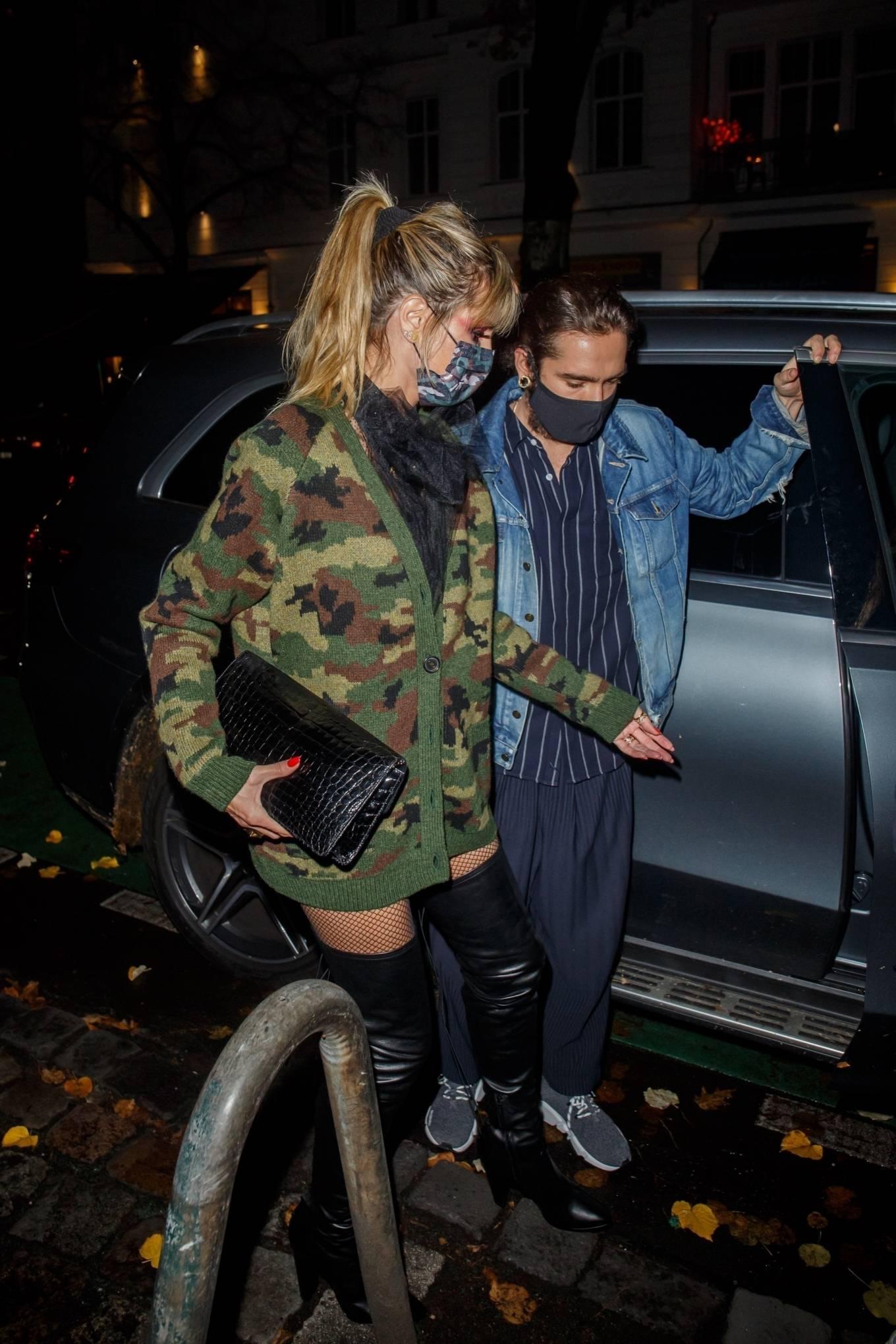 Heidi Klum in a camo jacket with husband Tom Kaulitz at Halloween Night dinner in Berlin