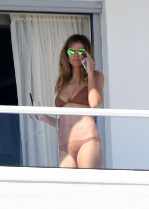 Heidi Klum in Bikini on Her Balcony in Miami