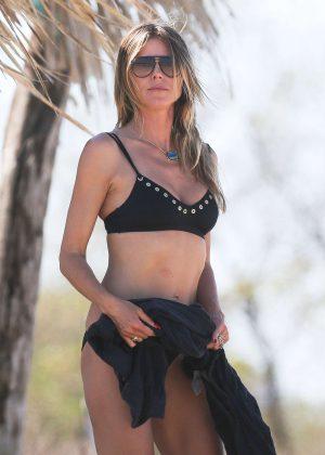 Heidi Klum in Black Bikini at the beach in Costa Rica