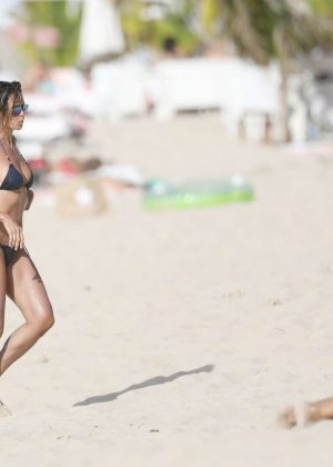 Heidi Klum in Black Bikini at the beach in St Barts
