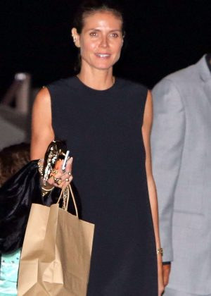 Heidi Klum in Black Mini Dress at Soho House in Malibu