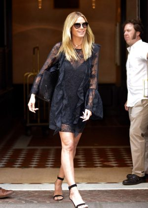 Heidi Klum in Black Mini Dress Leaving her hotel in NY