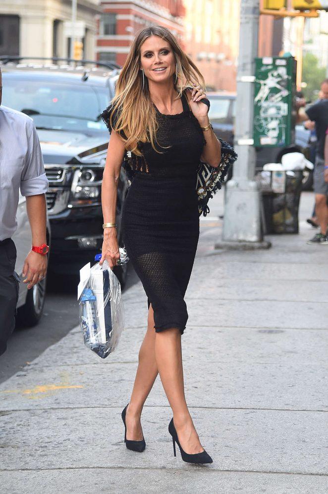 Heidi Klum In Black Mini Dress 01 Gotceleb