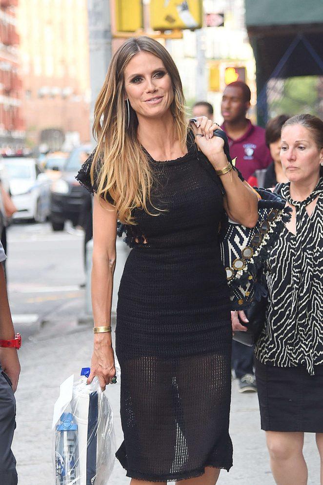 Heidi Klum in Black Mini Dress out in Tribeca