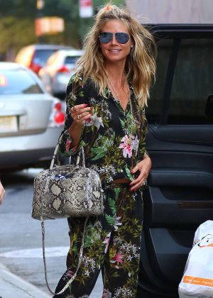 Heidi Klum in Floral Ensemble out in New York City