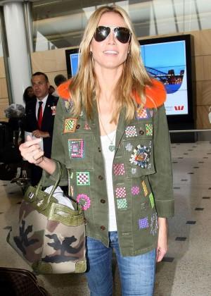 Heidi Klum in Jeans Arrives in Sidney