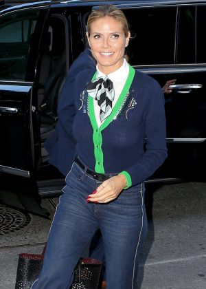 Heidi Klum in Jeans at Tribeca hotel in NY