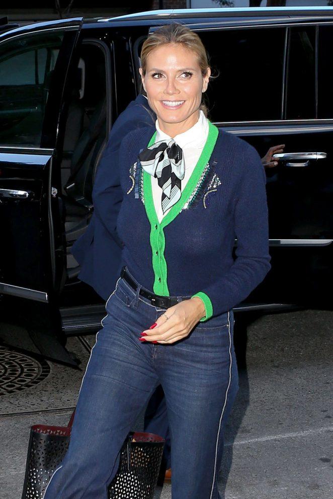 Heidi Klum in Jeans at Tribeca hotel in NY