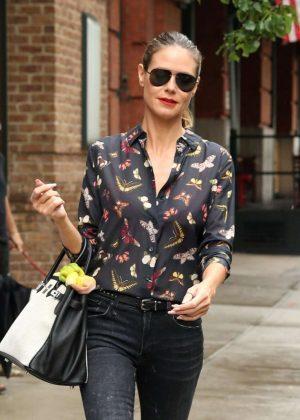 Heidi Klum in Jeans Leaves Greenwich Hotel in NY