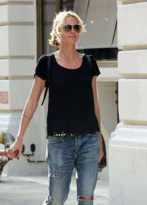 Heidi Klum in Ripped Jeans Out in NYC