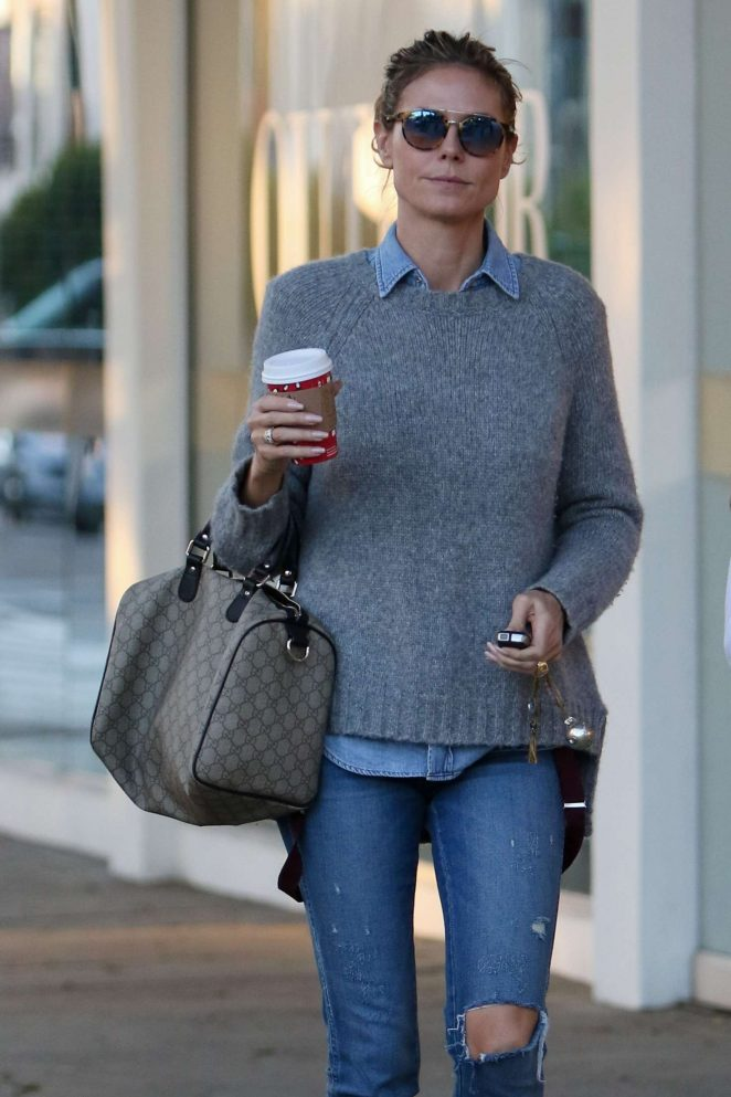 Heidi Klum in Jeans Shopping in Beverly Hills