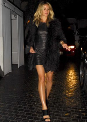 Heidi Klum in Leather Dress Leaves Chateau Marmot in West Hollywood