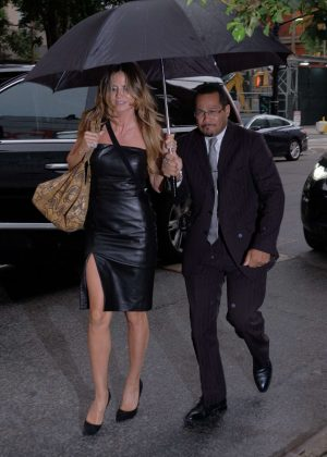 Heidi Klum in Leather Dress Returning to her hotel in Manhattan