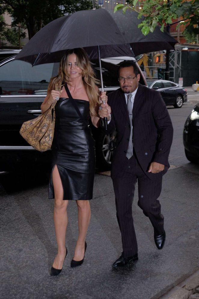 Heidi Klum in Leather Dress Returning to her hotel in Manhattan