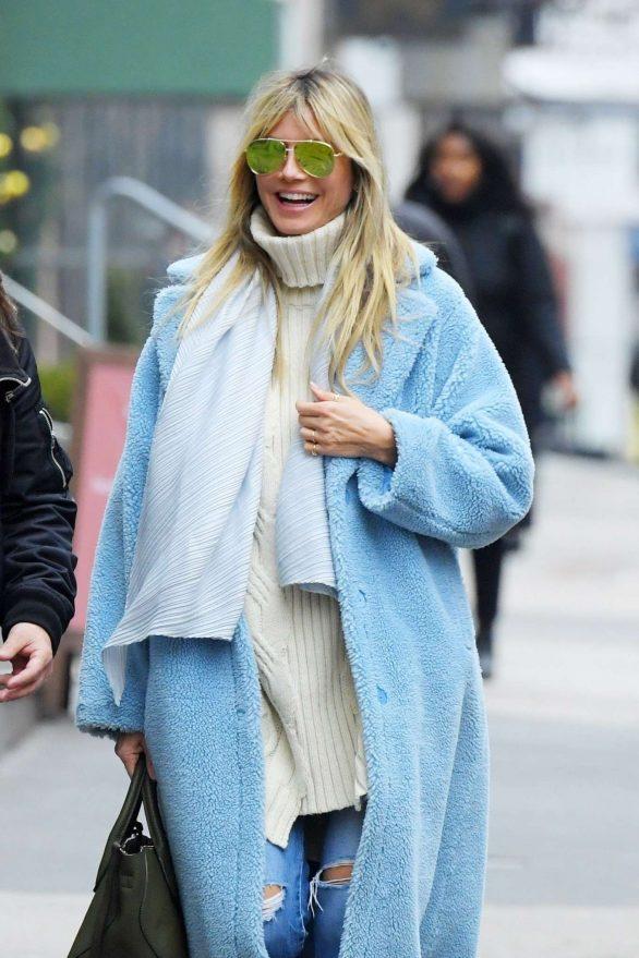 Heidi Klum in Light Blue Coat - Out in SoHo