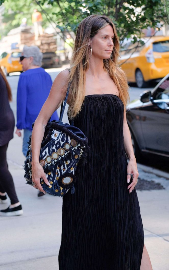 Heidi Klum in Long Black Dress Out in New York