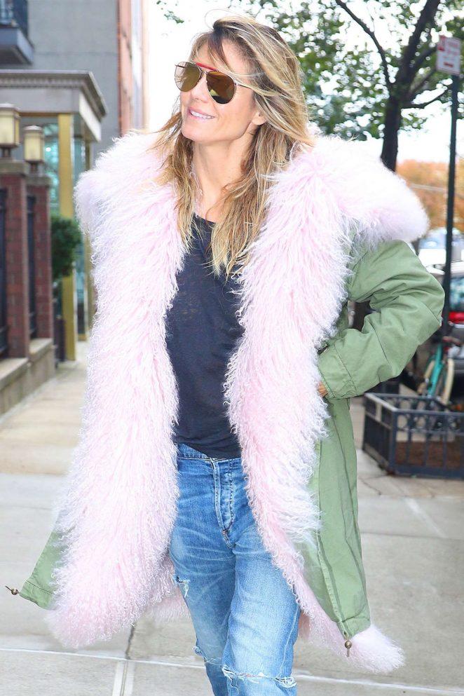 Heidi Klum in Long Coat out in New York