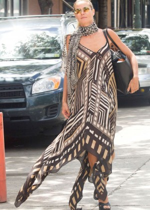 Heidi Klum in Long Dress out in NYC