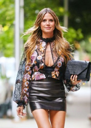 Heidi Klum in Mini Leayher Skirt Out in London
