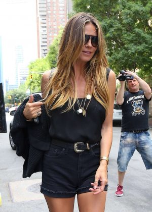 Heidi Klum in Mini Shorts out in New York
