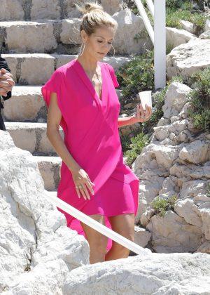 Heidi Klum in Pink Dress Leaving Eden Roc in Antibes