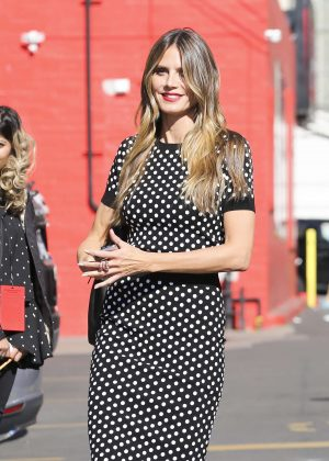 Heidi Klum in Polka Dot Dress out in Los Angeles