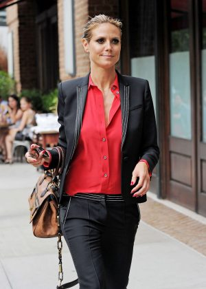 Heidi Klum in Red Shirt and Black Pants out in NYC
