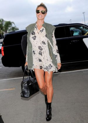 Heidi Klum in Short Dress at LAX airport in LA